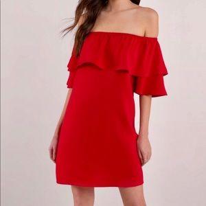 """TOBI """"Show Red Off Shoulder Dress"""""""